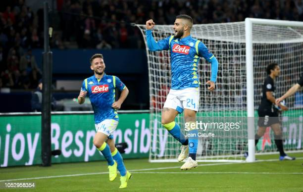 Lorenzo Insigne of Napoli celebrates his goal with Dries Mertens during the Group C match of the UEFA Champions League between Paris SaintGermain and...