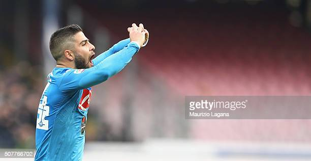 Lorenzo Insigne of Napoli celebrates his team's second goal during the Serie A match between SSC Napoli and Empoli FC at Stadio San Paolo on January...