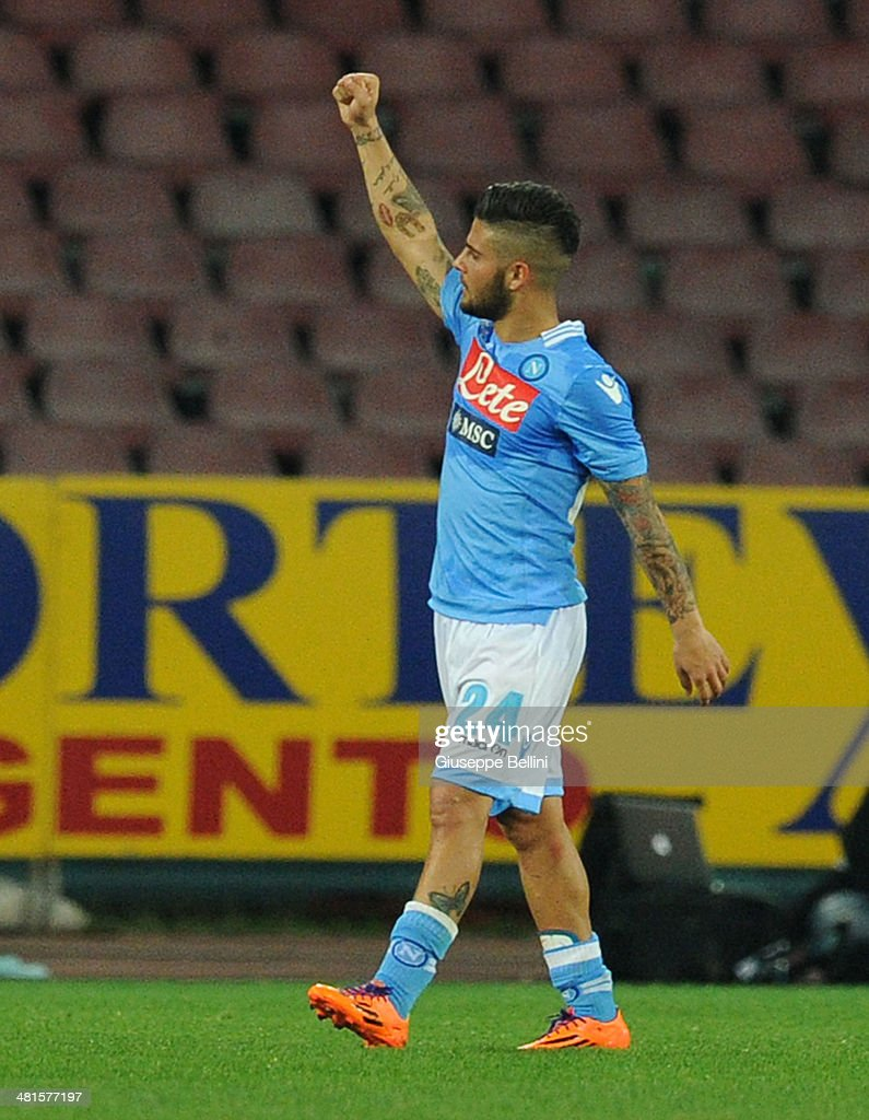 Lorenzo Insigne of Napoli celebrates the victory after the Serie A match between SSC Napoli and Juventus at Stadio San Paolo on March 30, 2014 in Naples, Italy.