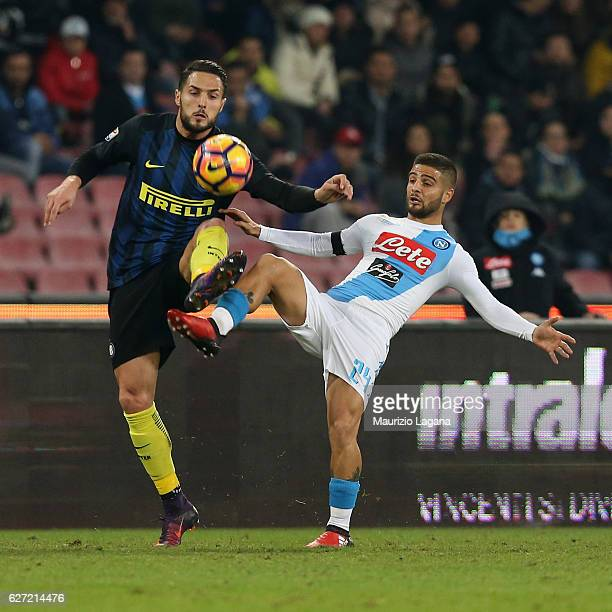 Lorenzo Insigne of Napoli competes for the ball with Danilo D'Amrosio of Inter during the Serie A match between SSC Napoli and FC Internazionale at...