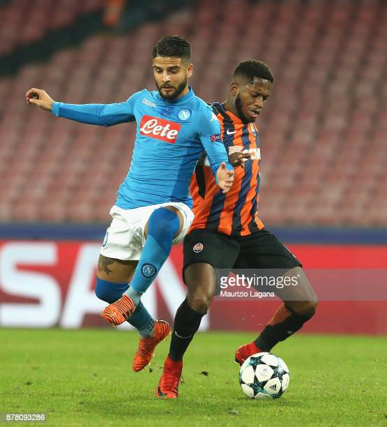 Lorenzo Insigne of Napoli competes for the ball with Fred of Shakhtar Donetsk during the UEFA Champions League group F match between SSC Napoli and...