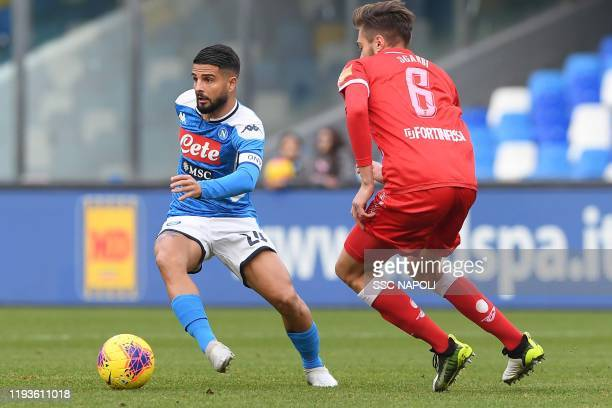 Lorenzo Insigne of Napoli controls the ball during the Coppa Italia match between SSC Napoli and Perugia on January 14 2020 in Naples Italy