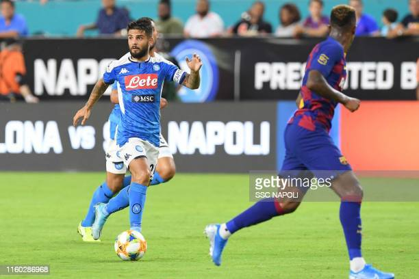 Lorenzo Insigne of Napoli controls the ball during the preseason friendly match between FC Barcelona and SSC Napoli at Hard Rock Stadium on August 7...