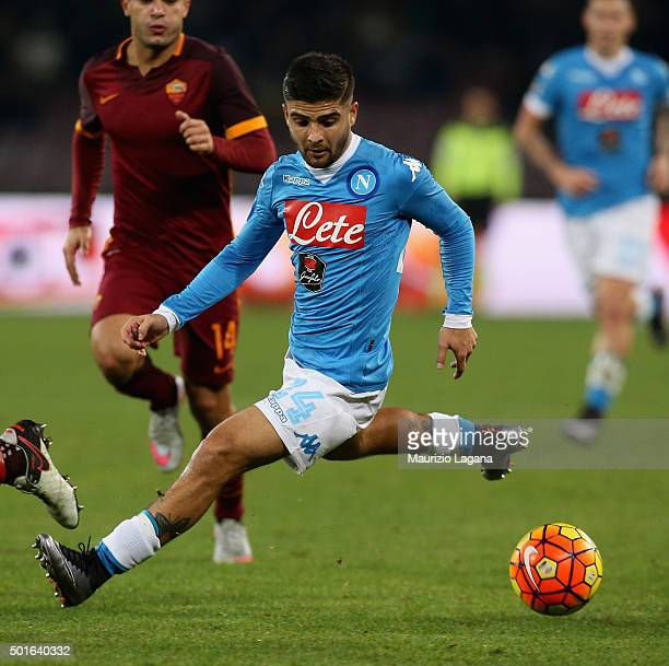 Lorenzo Insigne of Napoli during the Serie A match betweeen SSC Napoli and AS Roma at Stadio San Paolo on December 13 2015 in Naples Italy