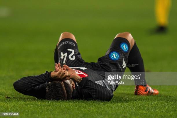 Lorenzo Insigne of Napoli lies on the pitch during the Serie A match between SSC Napoli and Juventus at Stadio San Paolo on December 1 2017 in Naples...