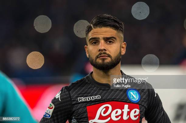 Lorenzo Insigne of Napoli looks on during the Serie A match between SSC Napoli and Juventus at Stadio San Paolo on December 1 2017 in Naples Italy