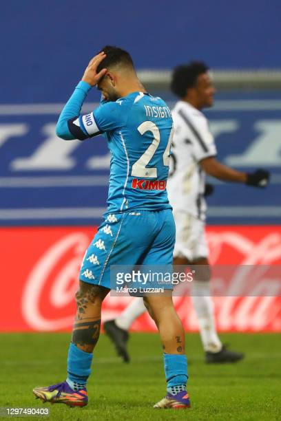 Lorenzo Insigne of Napoli reacts during the Italian PS5 Supercup match between Juventus and SSC Napoli at Mapei Stadium - Citta' del Tricolore on...
