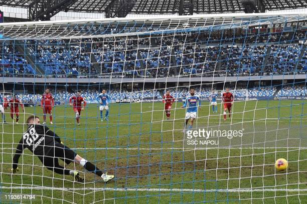 Lorenzo Insigne of Napoli scores the 10 goal during the Coppa Italia match between SSC Napoli and Perugia on January 14 2020 in Naples Italy
