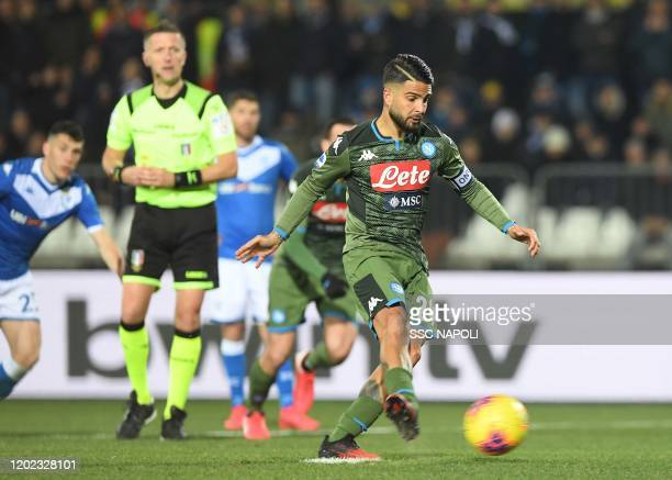 Lorenzo Insigne of Napoli scores the 11 goal from the penalty spot during the Serie A match between Brescia Calcio and SSC Napoli at Stadio Mario...