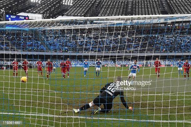 Lorenzo Insigne of Napoli scores the 20 goal during the Coppa Italia match between SSC Napoli and Perugia on January 14 2020 in Naples Italy