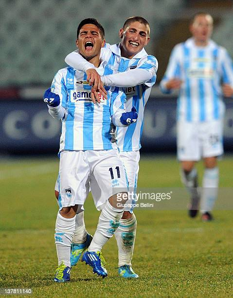 Lorenzo Insigne of Pescara celebrates after scoring a goal during the Serie B match between Pescara Calcio and Modena FC on January 27, 2012 in...