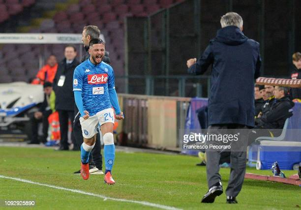 Lorenzo Insigne of SSC Napoli and coach of SSC Napoli Carlo Ancelotti celebrate a goal scored by Lorenzo Insigne during the Serie A match between SSC...
