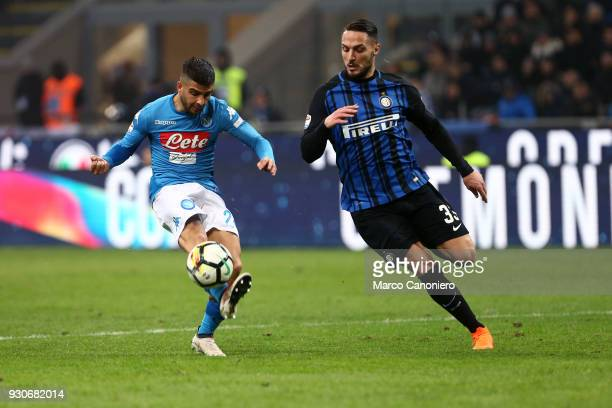 Lorenzo Insigne of Ssc Napoli and Danilo D'ambrosio of Fc Internazionale in action during the Serie A football match between Fc Internazionale and...