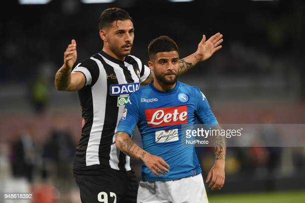 Lorenzo Insigne of SSC Napoli and Giuseppe Pezzella of Udinese Calcio during the Serie A TIM match between SSC Napoli and Udinese Calcio at Stadio...
