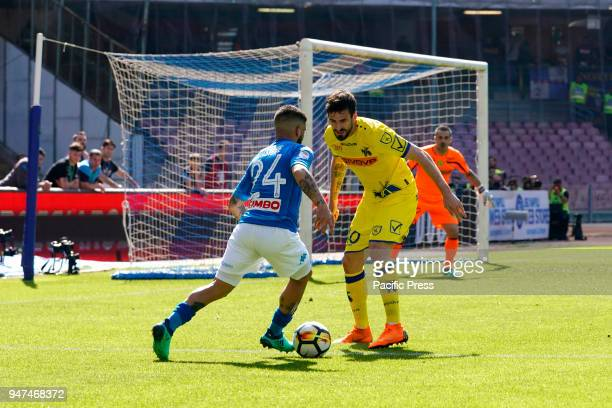 Lorenzo Insigne of SSC Napoli and Tomovic Nenad of Chievo Verona during Serie A match between SSC Napoli and Chievo Verona at Stadio San Paolo of...
