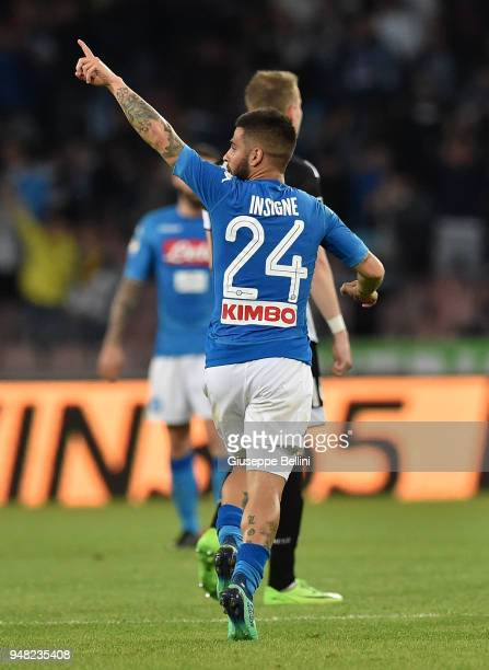 Lorenzo Insigne of SSC Napoli celebates after scoring goal 11 during the Serie A match between SSC Napoli and Udinese Calcio at Stadio San Paolo on...