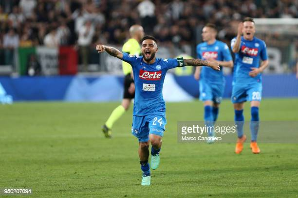 Lorenzo Insigne of Ssc Napoli celebrate at the end of the Serie A football match between Juventus Fc and Ssc Napoli Ssc Napoli wins 10 over Juventus...