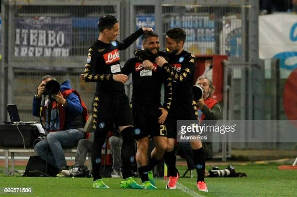 Lorenzo Insigne of SSC Napoli celebrates a second goal wit his team mates during the Serie A match between SS Lazio and SSC Napoli at Stadio Olimpico...