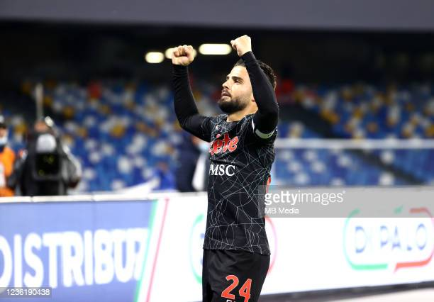 Lorenzo Insigne of SSC Napoli celebrates after scores during the Serie A match between SSC Napoli and Bologna FC at Stadio Diego Armando Maradona on...