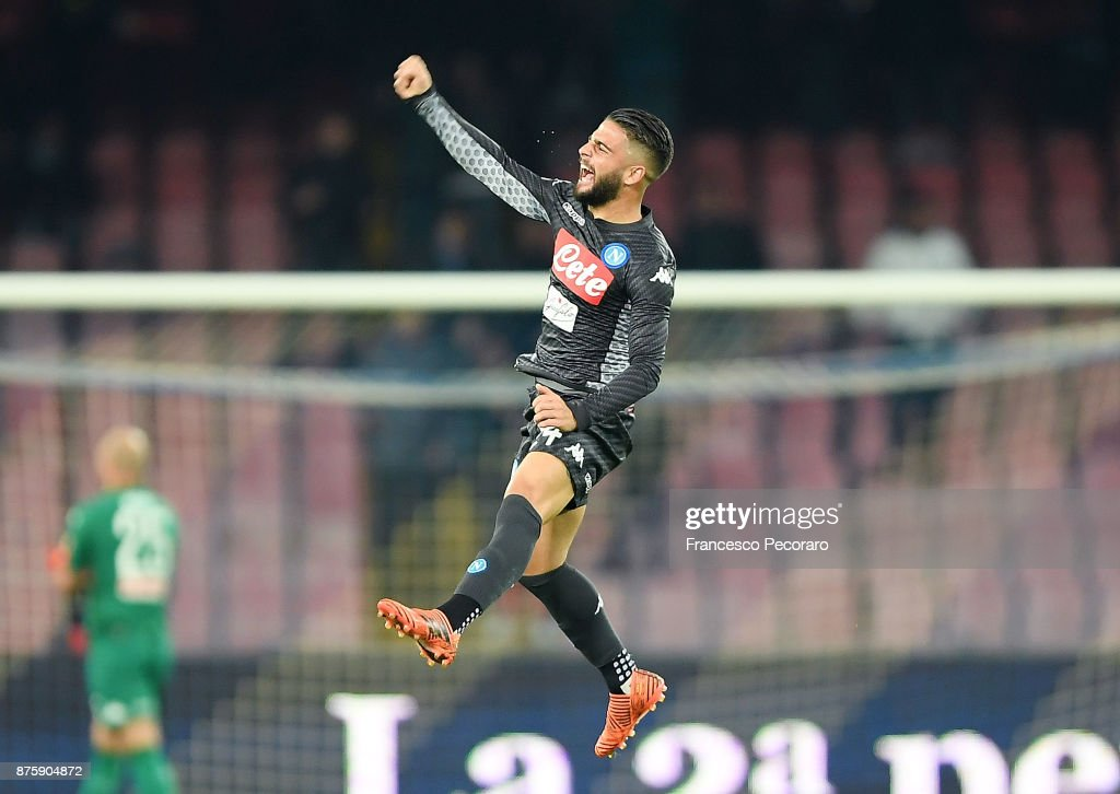 Lorenzo Insigne of SSC Napoli celebrates after scoring 1-0 goal during the Serie A match between SSC Napoli and AC Milan at Stadio San Paolo on November 18, 2017 in Naples, Italy.