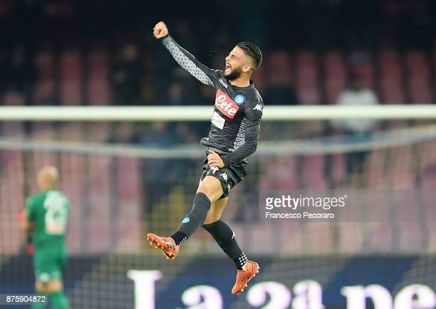 Lorenzo Insigne of SSC Napoli celebrates after scoring 10 goal during the Serie A match between SSC Napoli and AC Milan at Stadio San Paolo on...