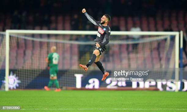Lorenzo Insigne of SSC Napoli celebrates after scoring 1-0 goal during the Serie A match between SSC Napoli and AC Milan at Stadio San Paolo on...