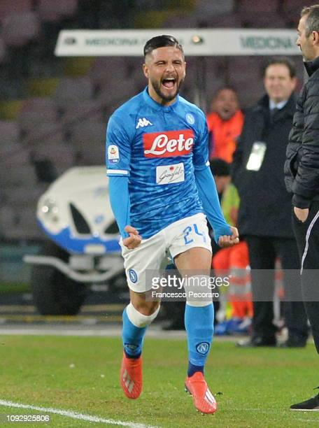 Lorenzo Insigne of SSC Napoli celebrates after scoring a goal during the Serie A match between SSC Napoli and UC Sampdoria at Stadio San Paolo on...