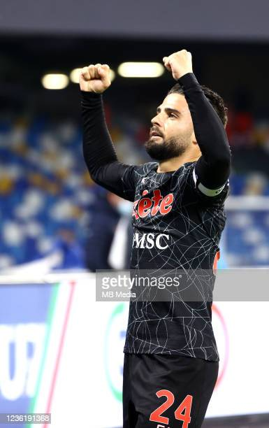 Lorenzo Insigne of SSC Napoli celebrates after scoring during the Serie A match between SSC Napoli and Bologna FC at Stadio Diego Armando Maradona on...