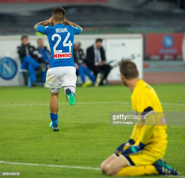 STADIUM NAPLES CAMPANIA ITALY Lorenzo Insigne of SSC Napoli celebrates after scoring during the Serie A football match between SSC Napoli and Udinese...