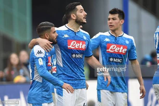 Lorenzo Insigne of SSC Napoli celebrates after scoring during the Tim Cup match between SSC Napoli and AC Perugia at Stadio San Paolo Naples Italy on...