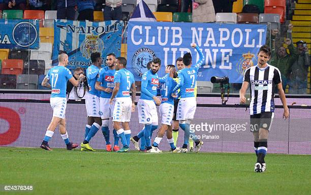 Lorenzo Insigne of SSC Napoli celebrates after scoring his opening goal during the Serie A match between Udinese Calcio and SSC Napoli at Stadio...
