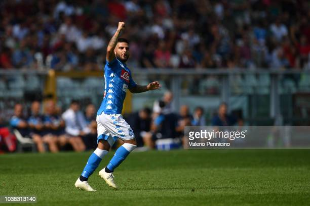 Lorenzo Insigne of SSC Napoli celebrates after scoring his second goal during the Serie A match between Torino FC and SSC Napoli at Stadio Olimpico...