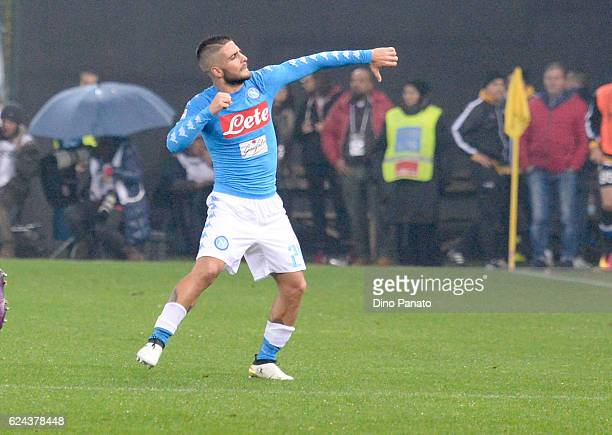 Lorenzo Insigne of SSC Napoli celebrates after scoring his team's second goal during the Serie A match between Udinese Calcio and SSC Napoli at...