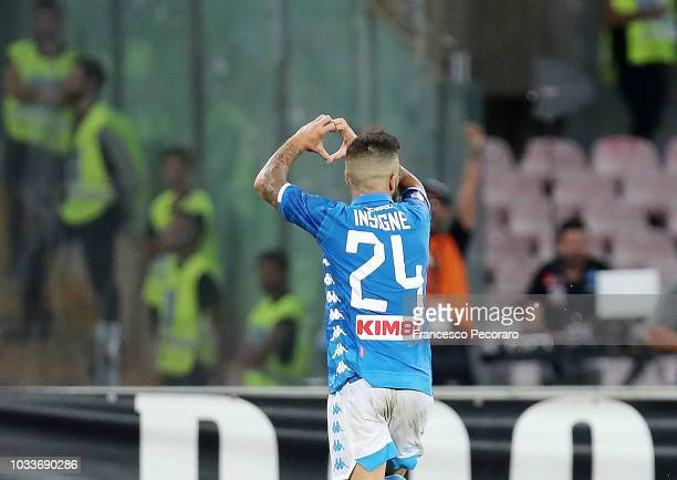 Lorenzo Insigne of SSC Napoli celebrates after scoring the 10 goal during the serie A match between SSC Napoli and ACF Fiorentina at Stadio San Paolo...