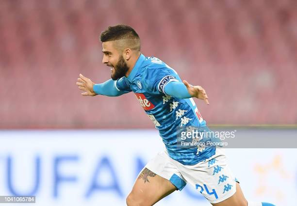 Lorenzo Insigne of SSC Napoli celebrates after scoring the 10 goal during the serie A match between SSC Napoli and Parma Calcio at Stadio San Paolo...