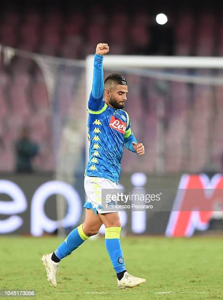 Lorenzo Insigne of SSC Napoli celebrates after scoring the 10 goal during the Group C match of the UEFA Champions League between SSC Napoli and...