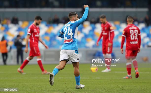 Lorenzo Insigne of SSC Napoli celebrates after scoring the 10 goal during the Coppa Italia match between SSC Napoli and Perugia on January 14 2020 in...