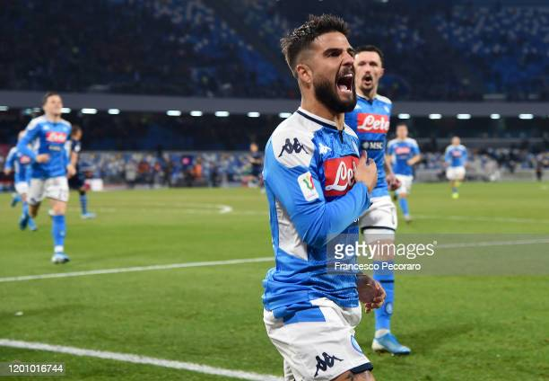 Lorenzo Insigne of SSC Napoli celebrates after scoring the 1-0 goal during the Coppa Italia match between SSC Napoli and SS Lazio at Stadio San Paolo...
