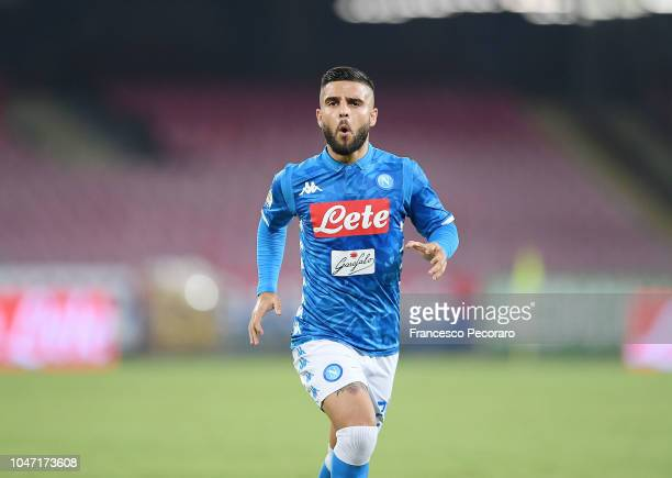 Lorenzo Insigne of SSC Napoli celebrates after scoring the 20 goal during the Serie A match between SSC Napoli and US Sassuolo at Stadio San Paolo on...