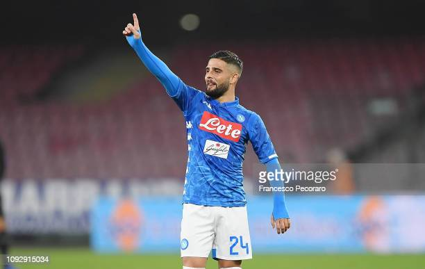Lorenzo Insigne of SSC Napoli celebrates after scoring the 20 goal during the Serie A match between SSC Napoli and UC Sampdoria at Stadio San Paolo...