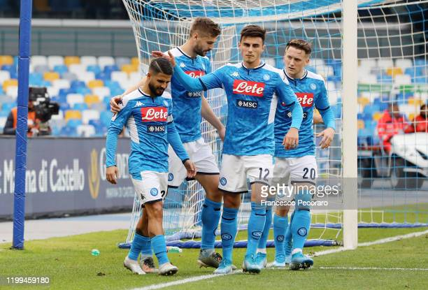 Lorenzo Insigne of SSC Napoli celebrates after scoring the 20 goal during the Coppa Italia match between SSC Napoli and Perugia on January 14 2020 in...