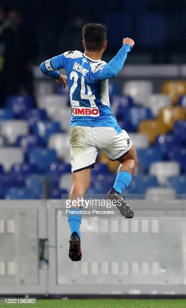 Lorenzo Insigne of SSC Napoli celebrates after scoring the 20 goal during the Serie A match between SSC Napoli and Juventus at Stadio San Paolo on...