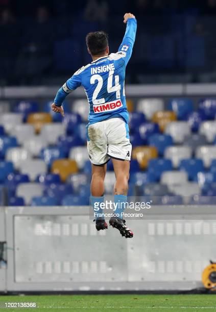 Lorenzo Insigne of SSC Napoli celebrates after scoring the 2-0 goal during the Serie A match between SSC Napoli and Juventus at Stadio San Paolo on...