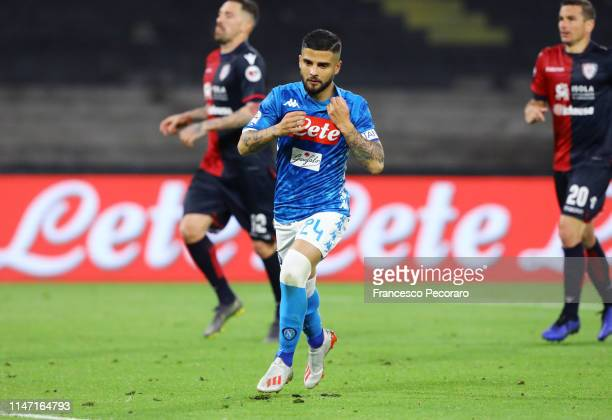 Lorenzo Insigne of SSC Napoli celebrates after scoring the 21 goal during the Serie A match between SSC Napoli and Cagliari at Stadio San Paolo on...