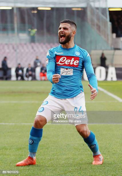 Lorenzo Insigne of SSC Napoli celebrates after scoring the 22 goal during the Serie A match between SSC Napoli and UC Sampdoria at Stadio San Paolo...