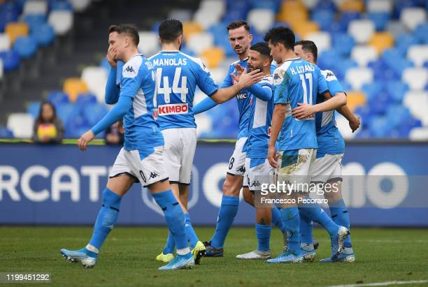 Lorenzo Insigne of SSC Napoli celebrates after scoring the first goal of his team via penalty with teammates during the Coppa Italia match between...