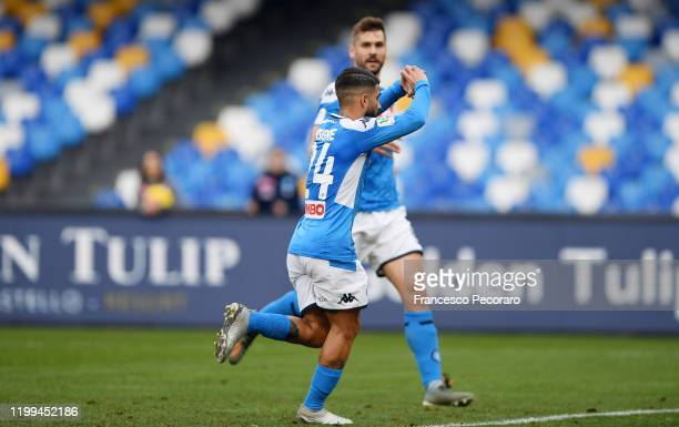 Lorenzo Insigne of SSC Napoli celebrates after scoring the first goal of his team via penalty during the Coppa Italia match between SSC Napoli and...