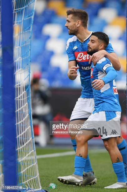 Lorenzo Insigne of SSC Napoli celebrates after scoring the first goal of his team via penalty with teammate Fernando Llorente during the Coppa Italia...