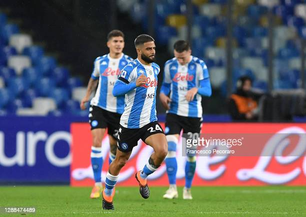 Lorenzo Insigne of SSC Napoli celebrates after scoring their sides first goal during the Serie A match between SSC Napoli and AS Roma at Stadio San...
