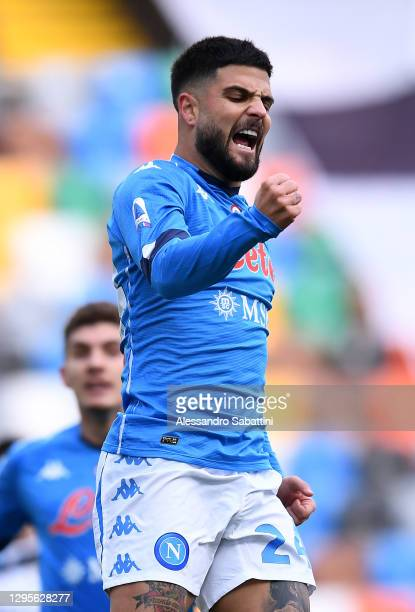 Lorenzo Insigne of SSC Napoli celebrates after scoring their side's first goal during the Serie A match between Udinese Calcio and SSC Napoli at...